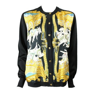 Vintage Clothing: 1980's Hermes Silk Cardigan With Animal Print