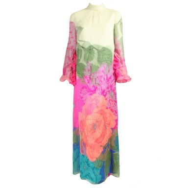 Vintage 1970's Hanae Mori Gown With Large-Scale Floral Print
