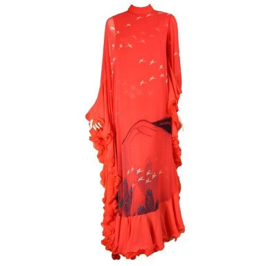 Hanae Mori Couture Gown 1970's Coral Chiffon With Bird Print Vintage - regenerationvintageclothing