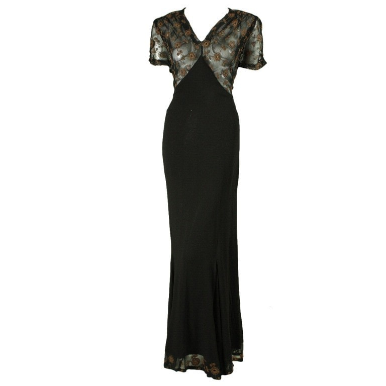 Vintage 1940's Black Crepe Gown with Metallic Embroidery