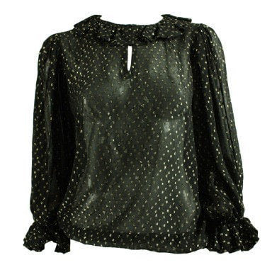 Vintage Clothing: 1970's Yves Saint-Laurent Black Chiffon Metallic Dotted Blouse