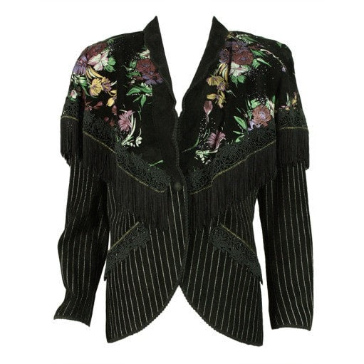 Vintage Clothing: 1980's Roberto Cavalli Hand-Painted Suede Jacket