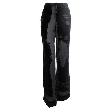 Jean-Paul Gaultier Trousers 1990's Black Velvet Devore Vintage - regenerationvintageclothing