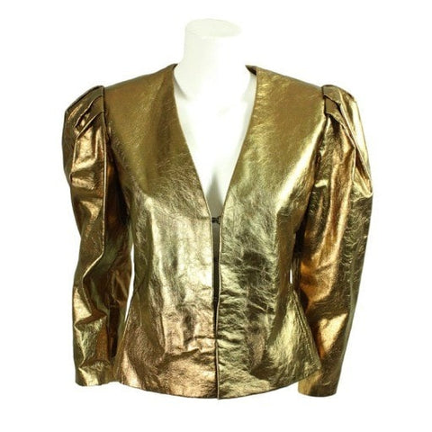 Bill Blass Jacket 1980's Metallic Leather Vintage - regenerationvintageclothing