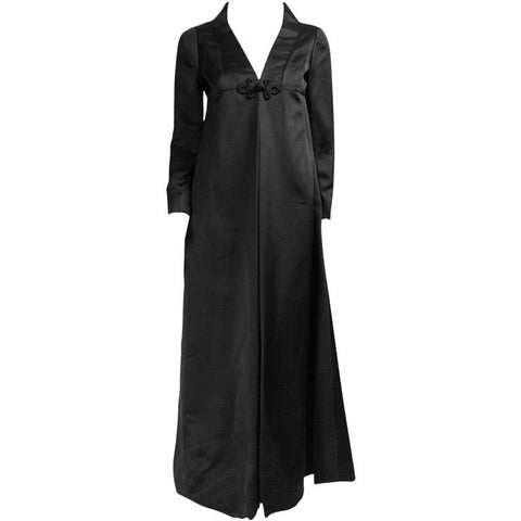 Amelia Gray Gown 1960's Black Satin Vintage - regenerationvintageclothing