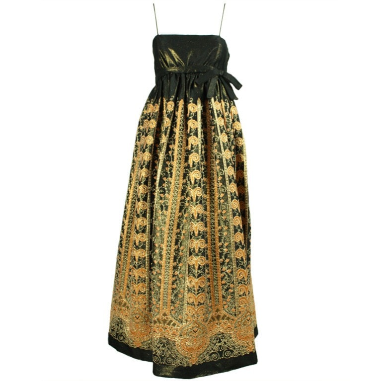 Vintage Dresses: 1960's Brocade Gown with Empire Waistline