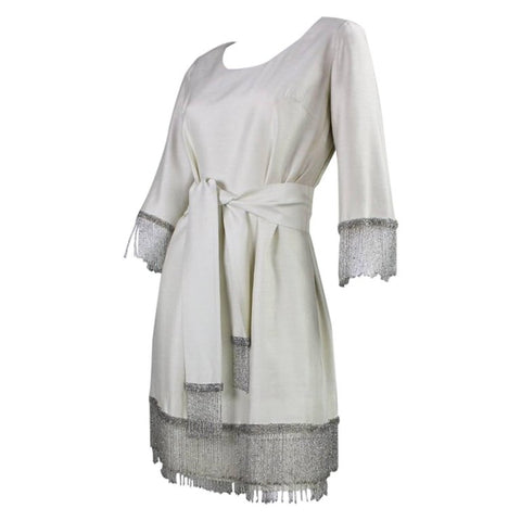 Vintage 1960's Cream Cocktail Dress with Beaded Fringe