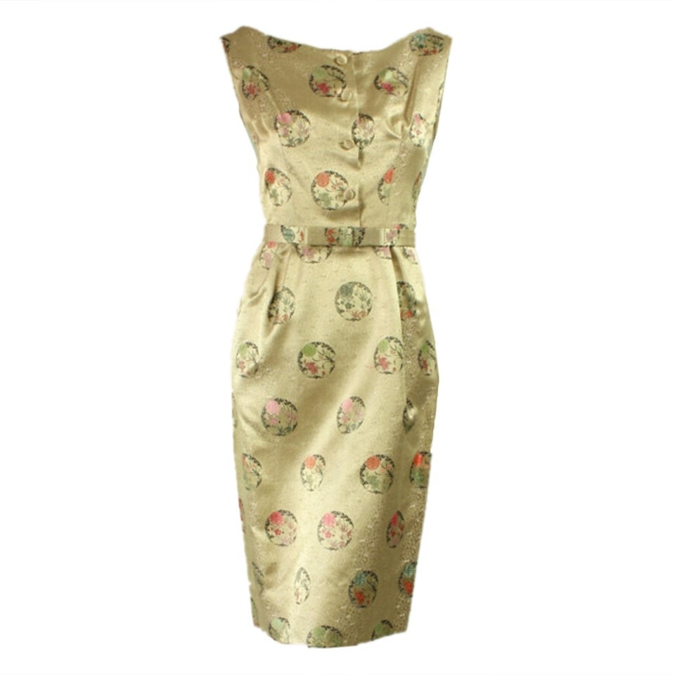 Vintage Dresses - 1950's Silk Jacquard Cocktail Dress