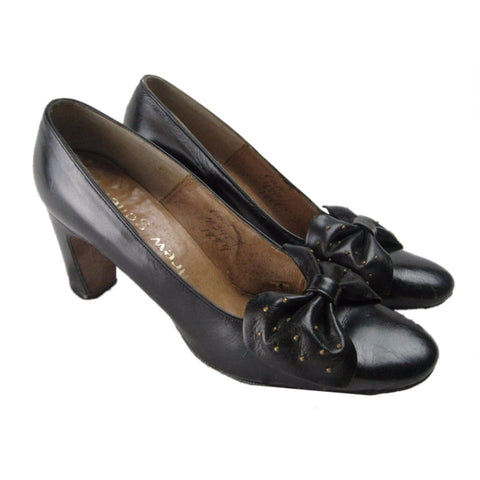 1960's Heels Andrew Geller Black Leather Vintage - regenerationvintageclothing