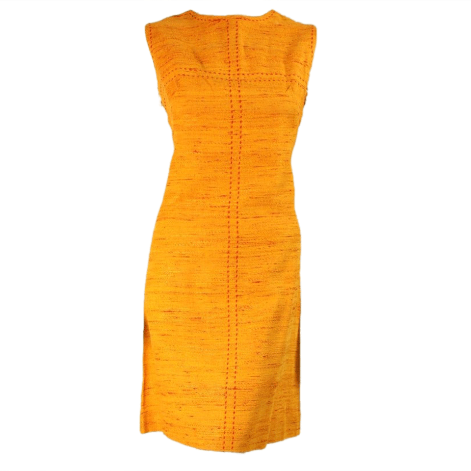 Vintage Clothing: 1960's Orange Day Dress with Red Fleck