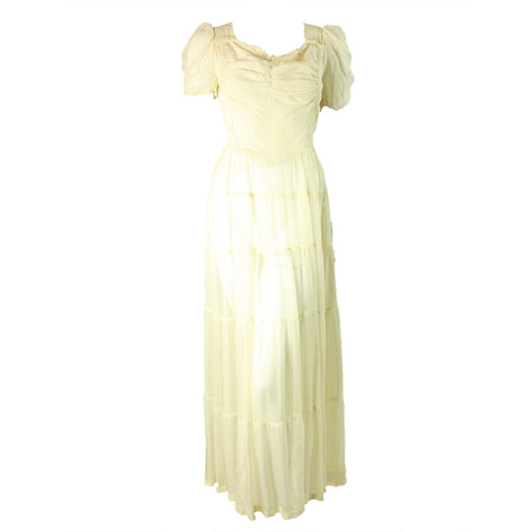 Vintage Clothing: 1940's Beige Ruffled Organza Gown