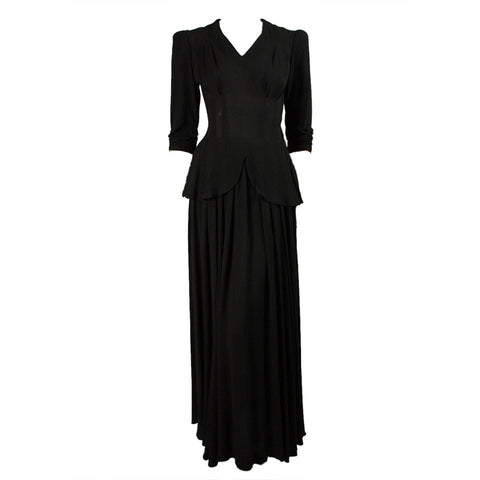 1940's Gown Black Rayon with Peplum Vintage - regenerationvintageclothing
