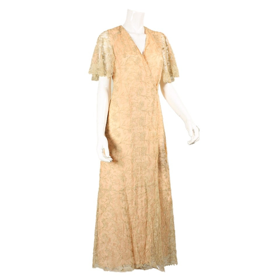 Vintage Clothing: 1930's Beige Illusion Lace Robe