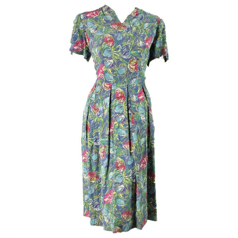 1950's Dress Blue Floral Rayon Vintage - regenerationvintageclothing