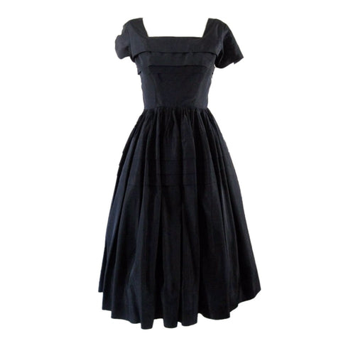 Vintage Dresses - 1950's Anne Fogarty Navy Taffeta Cocktail Dress