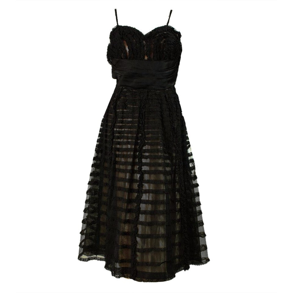 Vintage 1950's Black Lace Cocktail Dress