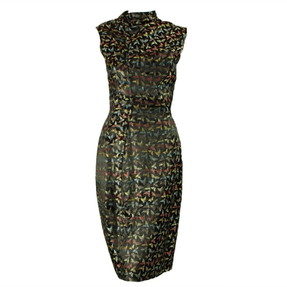 Vintage Clothing: 1950's Black Multicolored Butterfly Dress
