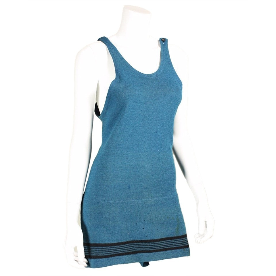 Vintage Clothing: 1920's Teal Wool Swimsuit