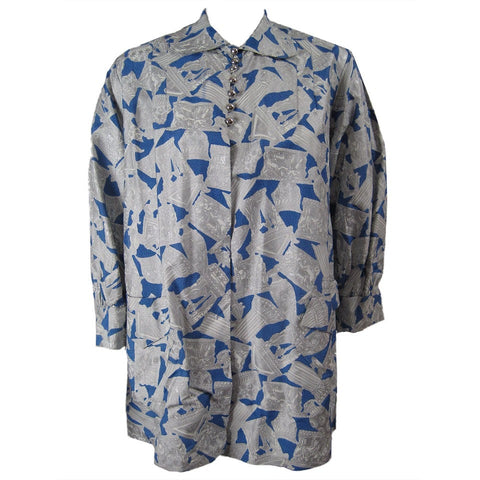Vintage Clothing: 1950's Blue & Silver Blouse with Roman Print