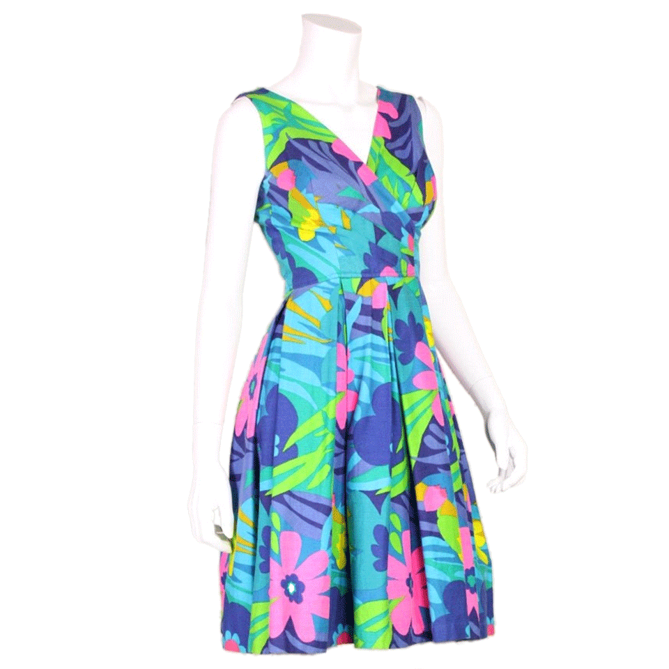 Vintage Clothing: 1960's Blue Floral Hawaiian Dress