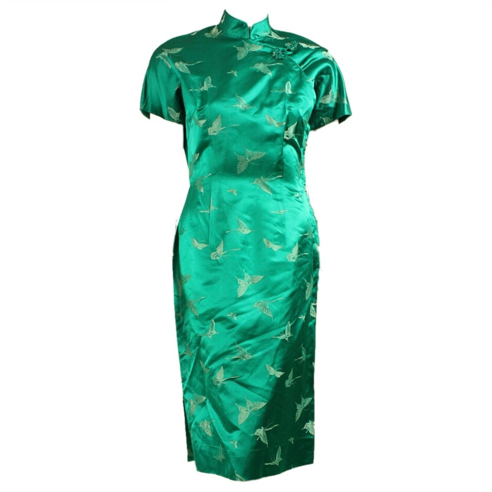 Vintage Dresses - Vintage 1950's Green Cheongsam Cocktail Dress