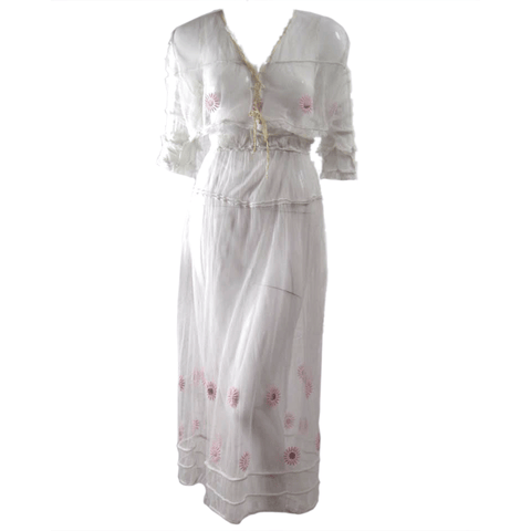 Edwardian Tea Dress With Floral Embroidery Vintage - regenerationvintageclothing