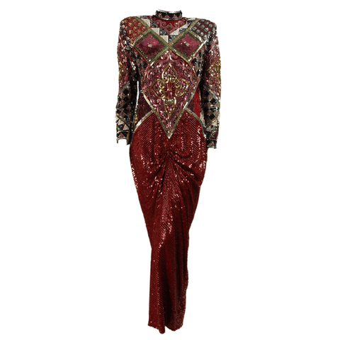 1980's Gown Red Sequined Silk Vintage - regenerationvintageclothing