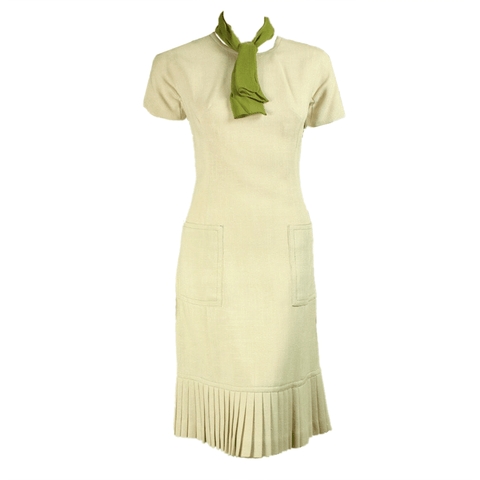 1960's Dress Cream Linen Vintage - regenerationvintageclothing