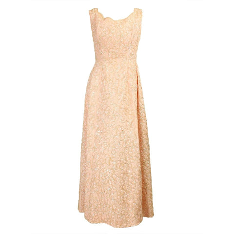 1960's Gown Pink Lace Sequined Vintage - regenerationvintageclothing