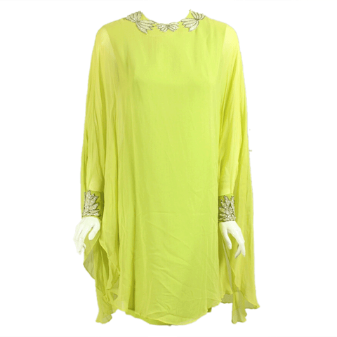1960's Dress Lime Green Chiffon Goddess Vintage - regenerationvintageclothing