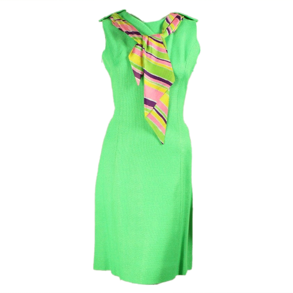 Vintage 1960's Lime Green Shift Dress