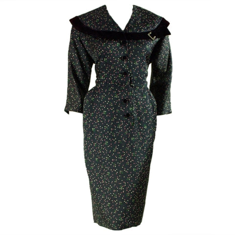 1950's Day Dress Polkadotted Vintage - regenerationvintageclothing