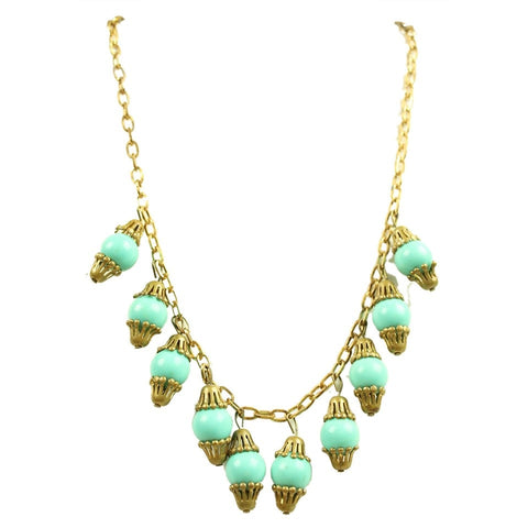 1940's Necklace Turquoise Chain Vintage - regenerationvintageclothing