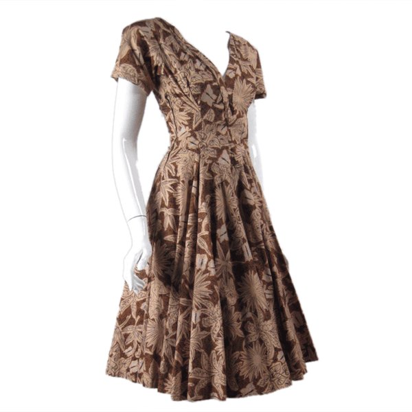 1950's Dress & Bolero Brown Butterfly Print Vintage - regenerationvintageclothing