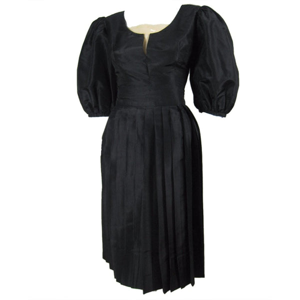 1950's Ensemble Klein Black Silk Vintage - regenerationvintageclothing