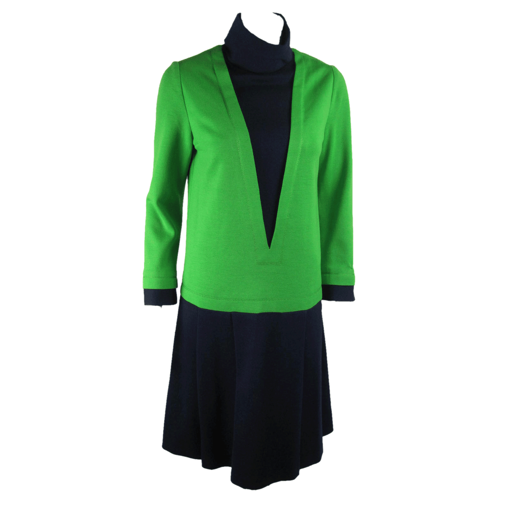 Vintage Clothing: 1960's Jean Patou Blue & Green Wool Dress