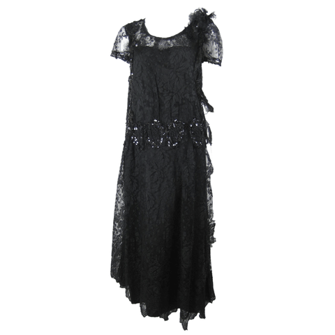 Vintage 1920's Black Lace Cocktail Dress with Sequins