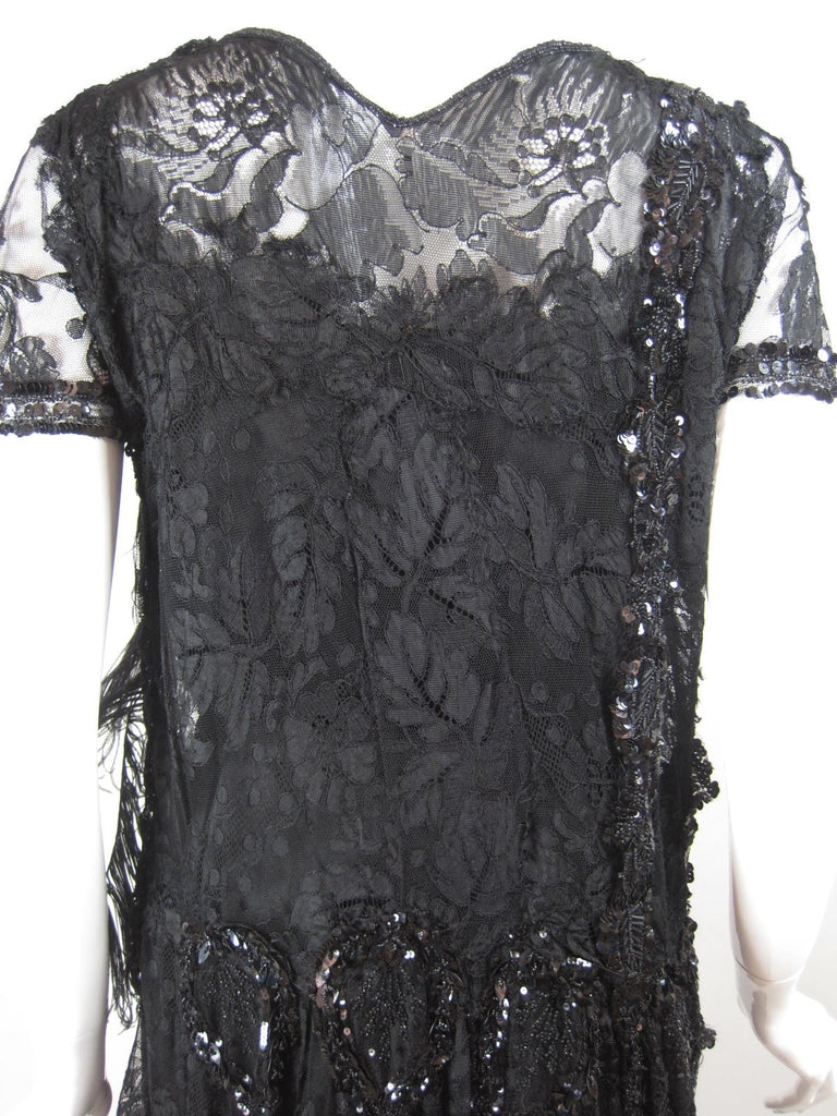 1920's Cocktail Dress Black Lace with Sequins Vintage - regenerationvintageclothing