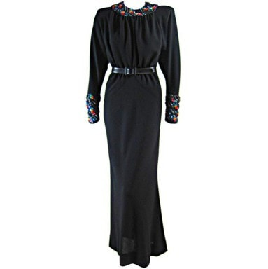 Galanos Gown 1980's Black with Beaded Collar & Cuffs Vintage - regenerationvintageclothing