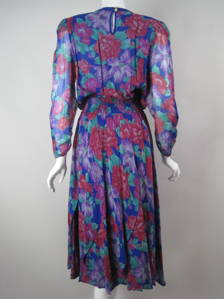 1980's Dress Diane Fres Beaded Chiffon Vintage - regenerationvintageclothing