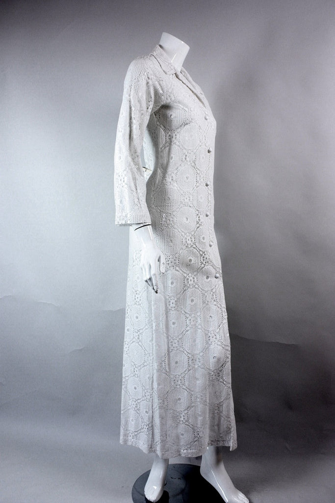 1970's axi Dress White Lace MVintage - regenerationvintageclothing