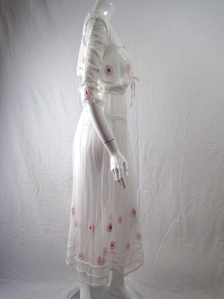 Vintage Edwardian Tea Dress With Floral Embroidery