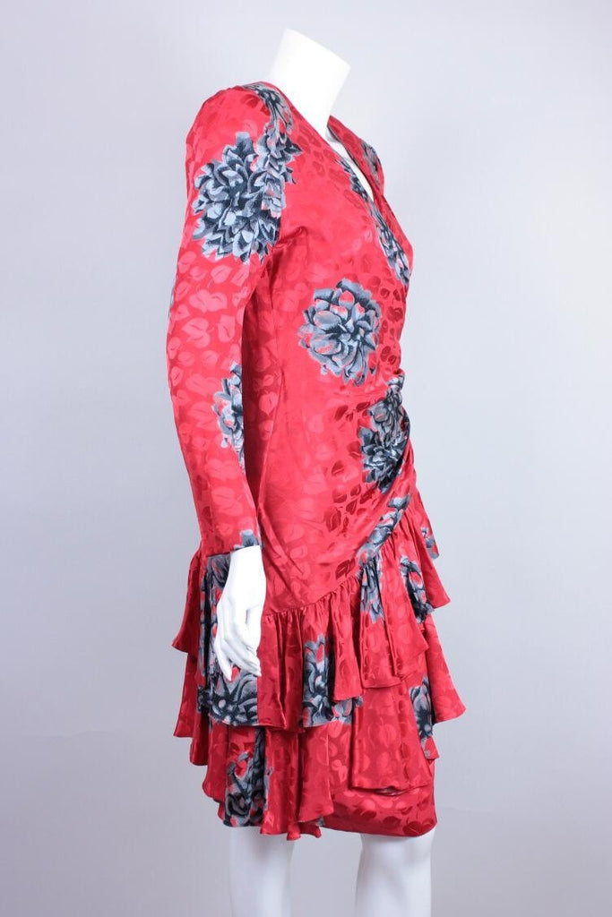 1980's Dress Red Silk Jacquard Vintage - regenerationvintageclothing