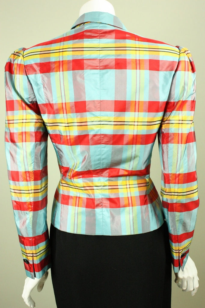 Bill Blass Jacket 1980's Plaid Taffeta Vintage - regenerationvintageclothing