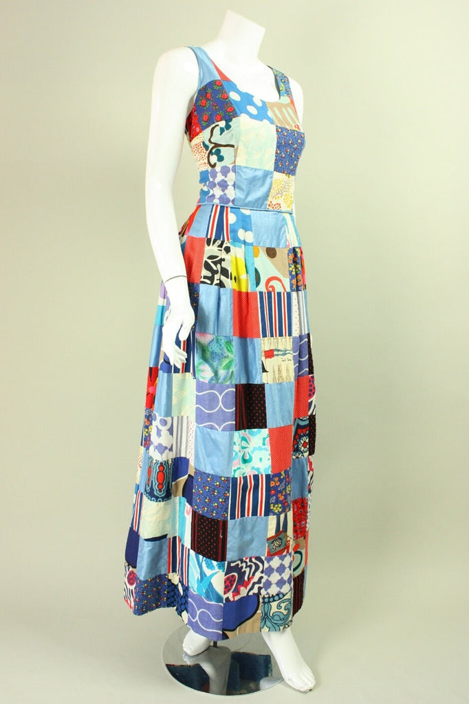 1970's Maxi Dress Patchwork Vintage - regenerationvintageclothing