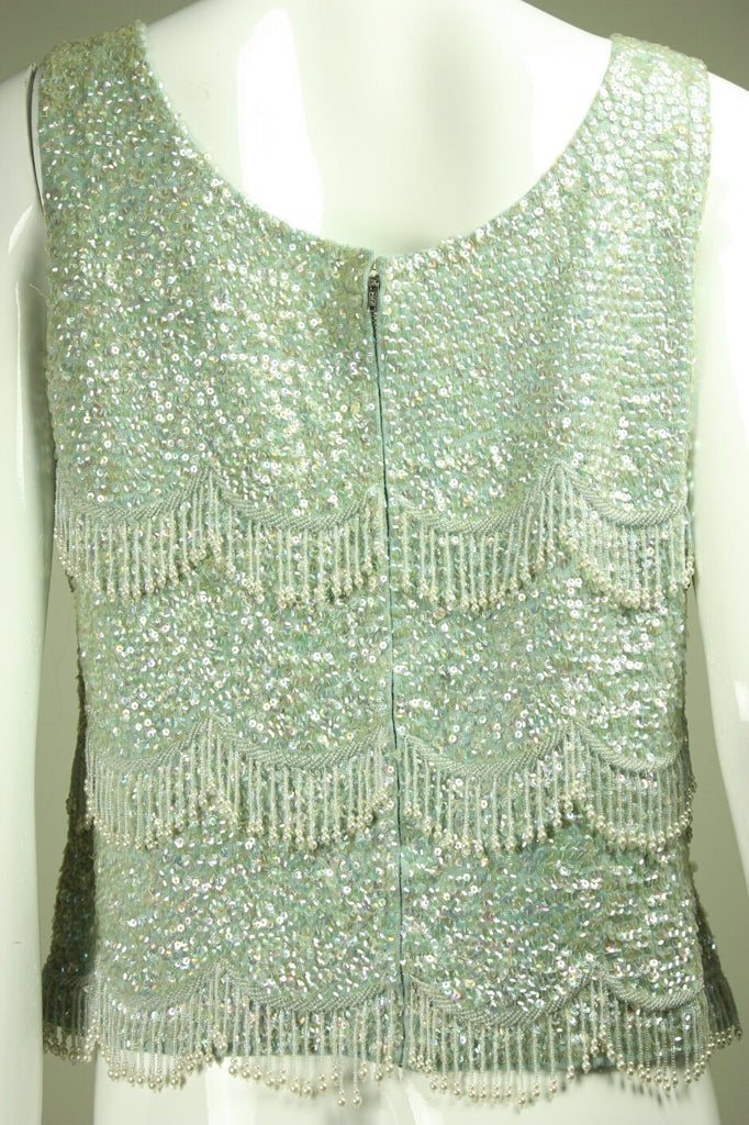 Vintage 1950's Baby Blue Beaded & Sequined Sweater