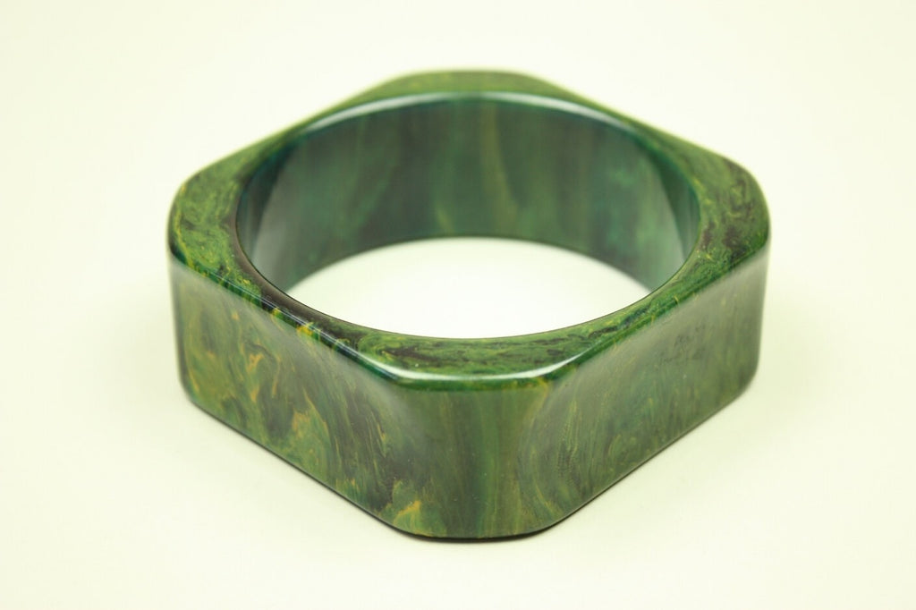 1930's Bangle Green Marbled Bakelite Vintage - regenerationvintageclothing