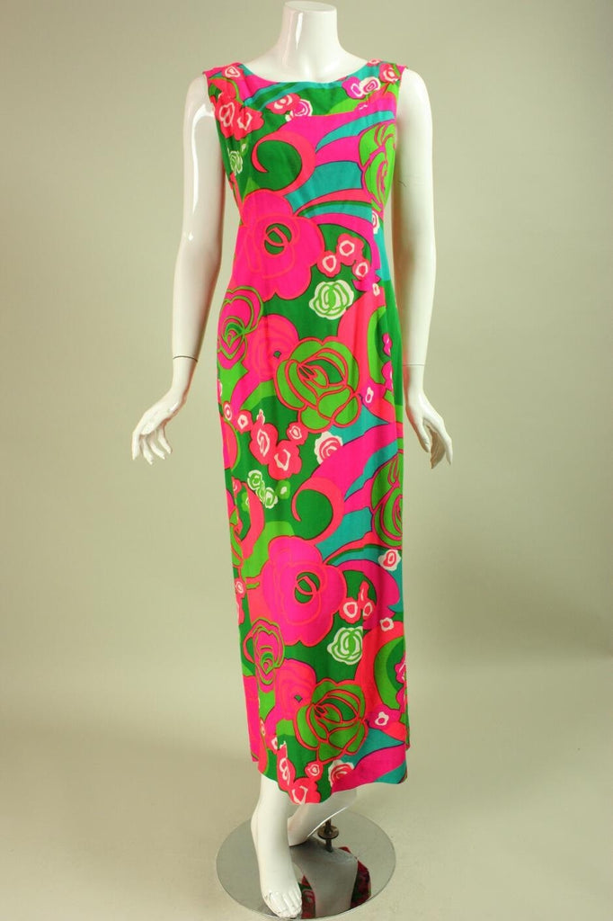 1970's Maxi Dress Floral Hawaiian Vintage - regenerationvintageclothing