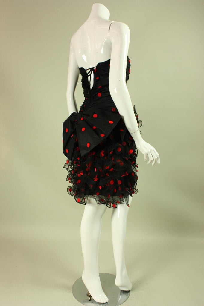 Vintage 1980's Ruffled Black & Red Cocktail Dress