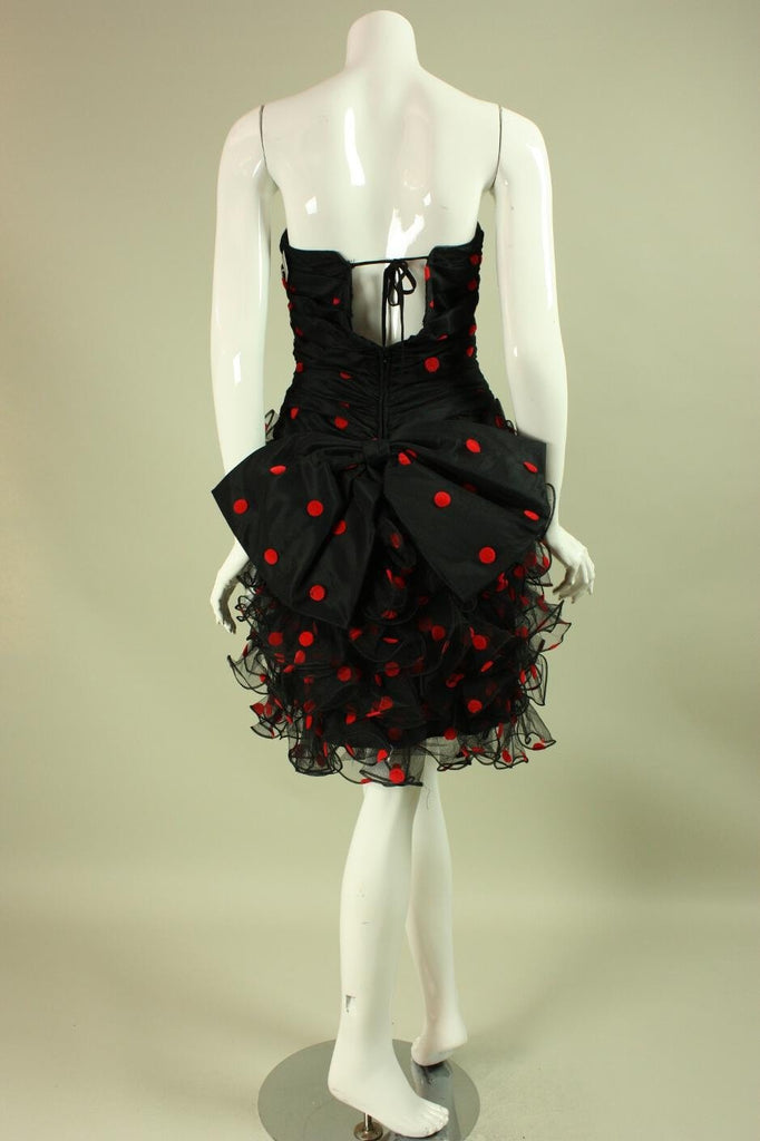 1980's Cocktail Dress Ruffled Black & Red Vintage - regenerationvintageclothing